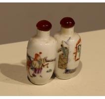 Snuff bottle double en porcelaine