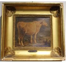 """Huile sur carton """"Vache"""" attribué à AGASSE"""