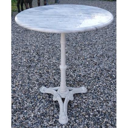 Table de bistro ronde plateau en marbre pied blanc