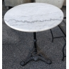 Table de bistro ronde plateau en marbre pied noir