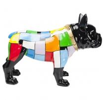 Bulldog en résine multicolore