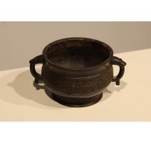 Vase chinois en bronze rond avec anses