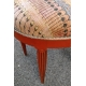 Tabouret rond Art Deco bois orange