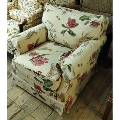 Fauteuil confortable anglais tissus à fleurs