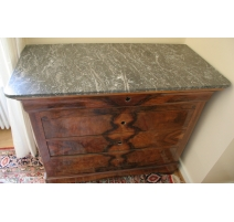 Commode Louis-Philippe, 4 tiroirs, dessus marbre