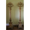 Paire de porte-cierges en bois et bronze