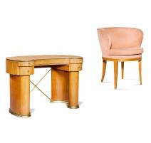 Bureau Art Déco et son fauteuil signé JANSEN