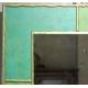 Miroir carré à cadre peint vert et or signé EKAW