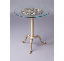 Peite table ronde en laiton poli, dessus verre