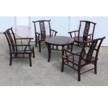 Salon chinois en bois, 4 fauteuils et 1 table