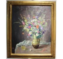 """Tableau """"Bouquet de fleurs"""" signé H. WERNER"""