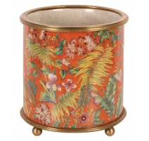 """Cache-pot rond en porcelaine """"Fleurs"""", orange Pet"""