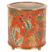 """Cache-pot rond en porcelaine """"Fleurs"""", orange Gran"""