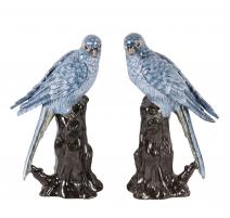 Paire de perroquets bleus en porcelaine