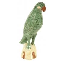 Perroquet vert en porcelaine