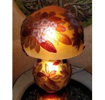 """Grande Lampe style GALLÉ """"Rhododendrons"""" en verre"""