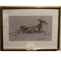 """Gravure """"Jeune chevreuil"""" de Robert HAINARD"""