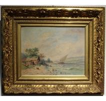 """Tableau """"Bord du lac"""" signé L. MENNET"""