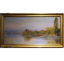 """Tableau """"Barques sur le Léman"""" signé A. PONCI"""
