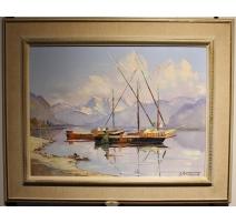 """Tableau """"Barques sur le Léman"""" signé PEITREQUIN"""