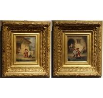 """Paire de tableaux """"Deux Enfants"""" signés LANFANT"""