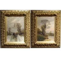 """Paire de tableaux """"Paysages des Flandres"""" signés"""