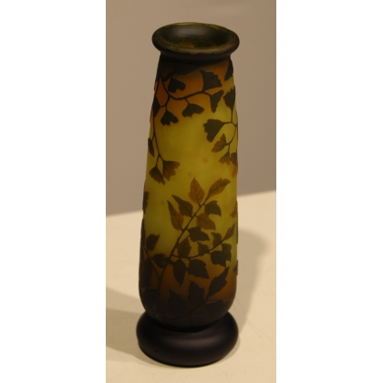 Vase soliflore noir et jaune signé DAUM NANCY