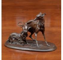 """Bronze """"Les deux chiens"""" signé MÈNE"""