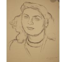 """Dessin """"Portrait de femme"""" signée BLANCHET"""