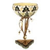 Coupe style Art-Nouveau porcelaine noire à fleurs