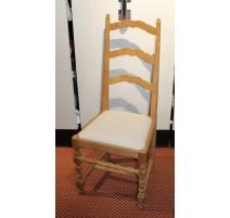 Chaise style Louis XIII en brut et en blanc