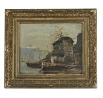 """Tableau """"Lac Léman"""" signé MENTA"""