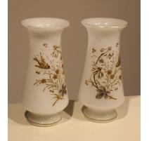 Paire de vases en opalines blanche décor oiseaux