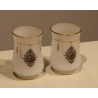 Paire de goblets en opalines blanche