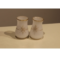 Paire de petits vases en opalines blanche