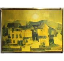 """Tableau """"Village jaune"""" signé HECKERT 75"""