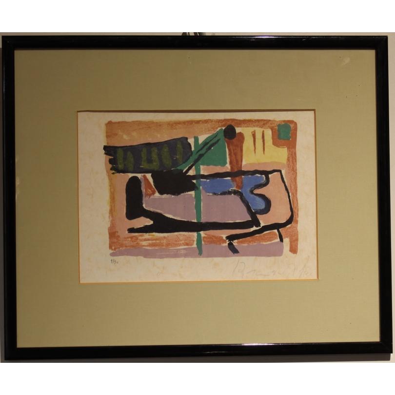 "Lithographie ""Abstraite"" signée BRAM VAN VELDE"