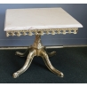 Peite table carrée en laiton poli, dessus marbre