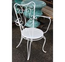 Suite de 4 fauteuils en fer forgé blanc