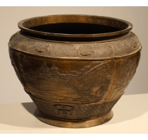 Cache pot rond japonais en bronze