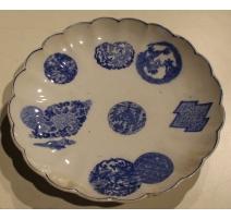 """Assiette festonnée """"Boules"""" en porcelaine bleu"""