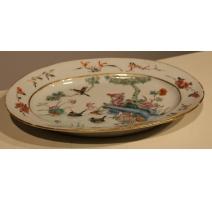 Plat ovale en porcelaine décor oiseaux