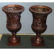 Paire de vases en bronze Bacchus