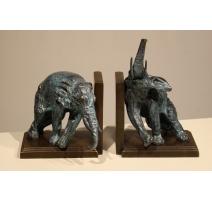 Paire de serre-livres Éléphants en bronze