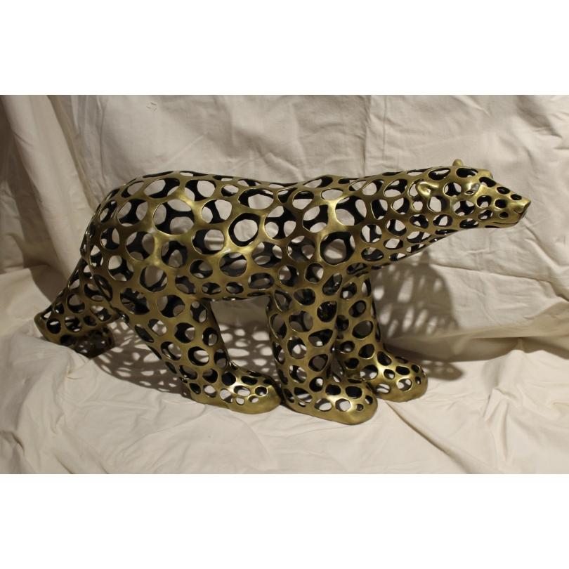 Ours polaire en bronze doré ajouré