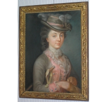 """Pastel """"Portrait de femme"""" ins"""