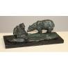 Ours et son petit en bronze, socle en marbre noir