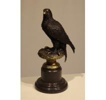 Aigle en bronze, socle en marbre noir