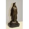 Pingouin et son petit en bronze, socle en marbre