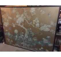 Paravent Japonais doré décor arbre et oiseaux